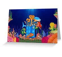 Blue Phone Booth Under the sea Greeting Card