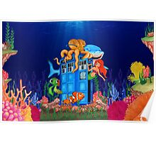 Blue Phone Booth Under the sea Poster