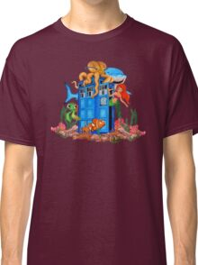 Blue Phone Booth Under the sea Classic T-Shirt