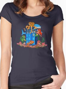 Blue Phone Booth Under the sea Women's Fitted Scoop T-Shirt