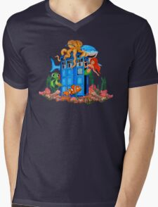 Blue Phone Booth Under the sea Mens V-Neck T-Shirt