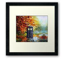 Autumn British Blue phone box painting Framed Print