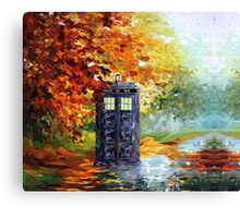 Autumn British Blue phone box painting Canvas Print