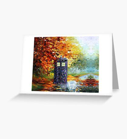 Autumn British Blue phone box painting Greeting Card