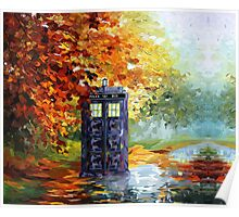 Autumn British Blue phone box painting Poster