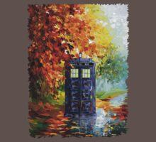 Autumn British Blue phone box painting One Piece - Short Sleeve