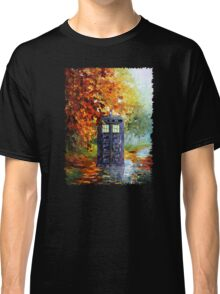 Autumn British Blue phone box painting Classic T-Shirt