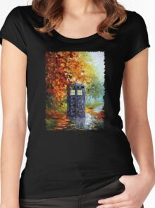 Autumn British Blue phone box painting Women's Fitted Scoop T-Shirt