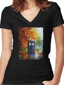 Autumn British Blue phone box painting Women's Fitted V-Neck T-Shirt