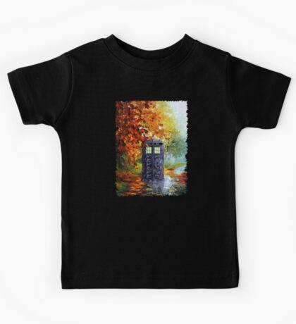 Autumn British Blue phone box painting Kids Tee