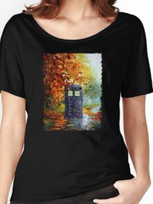 Autumn British Blue phone box painting Women's Relaxed Fit T-Shirt