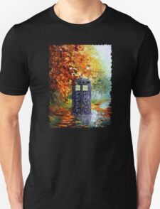 Autumn British Blue phone box painting Unisex T-Shirt