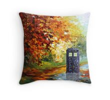 Autumn British Blue phone box painting Throw Pillow