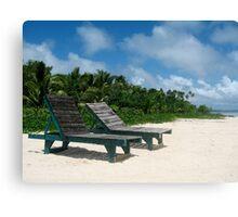 Beachfront lounges Canvas Print