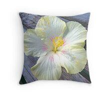 Hibiscus on hardwood Throw Pillow