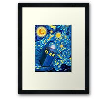 Space and time traveller phone box Starry the night Cartoons Framed Print