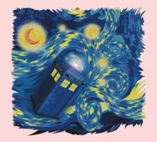 Space and time traveller phone box Starry the night Cartoons Kids Tee