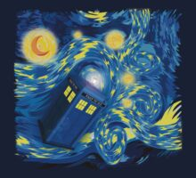 Space and time traveller phone box Starry the night Cartoons One Piece - Long Sleeve