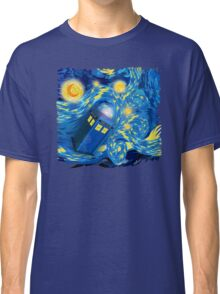 Space and time traveller phone box Starry the night Cartoons Classic T-Shirt