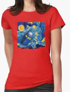 Space and time traveller phone box Starry the night Cartoons Womens Fitted T-Shirt