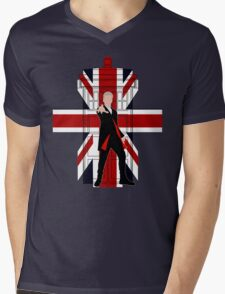 Union Jack British Flag with 12th Doctor Mens V-Neck T-Shirt