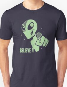 Alien Believe Space Sci Fi UFO Nerd Mens Ladies  T-Shirt