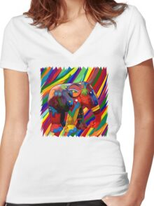 Full color rainbow abstract Elephant Women's Fitted V-Neck T-Shirt