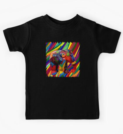 Full color rainbow abstract Elephant Kids Tee