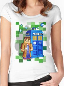 8bit blue phone box with space and time traveller Women's Fitted Scoop T-Shirt