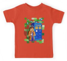 8bit blue phone box with space and time traveller Kids Tee