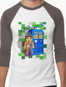 8bit blue phone box with space and time traveller Men's Baseball ¾ T-Shirt