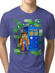 8bit blue phone box with space and time traveller Tri-blend T-Shirt
