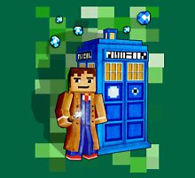 8bit blue phone box with space and time traveller T-Shirt
