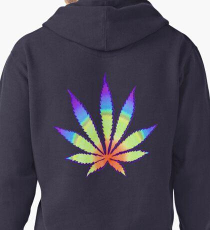 Diffused Rainbow Dope Leaf Pullover Hoodie