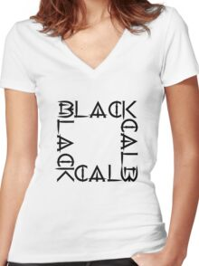 BLACKx4 Women's Fitted V-Neck T-Shirt