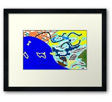 boat/sea/sky -(300311)- mouse drawn/ms paint Framed Print
