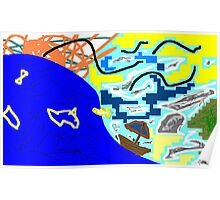 boat/sea/sky -(300311)- mouse drawn/ms paint Poster