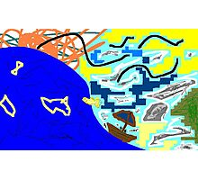 boat/sea/sky -(300311)- mouse drawn/ms paint Photographic Print