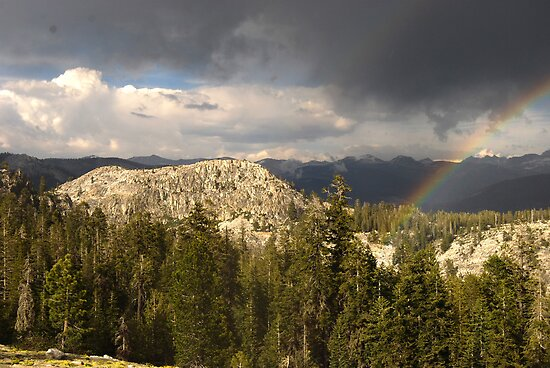 Rock ridge forest beautiful light and a rainbow by Mark Redfern