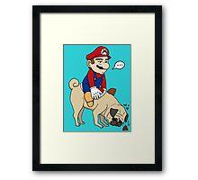 Super Mario Pug Yoshi Framed Print