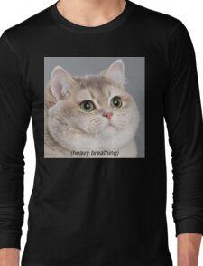 Heavy Breathing Cat Long Sleeve T-Shirt
