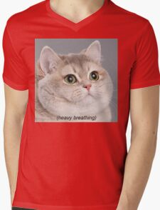 Heavy Breathing Cat Mens V-Neck T-Shirt