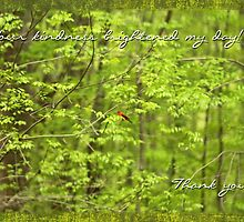 Thank You Greeting Card - Scarlet Tanager Songbird by MotherNature