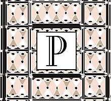 1920s Pink Champagne Gatsby Monogram letter P by CecelyBloom