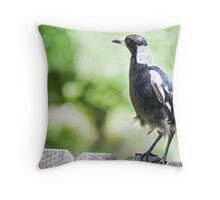 Magpie Fence Sitting Throw Pillow