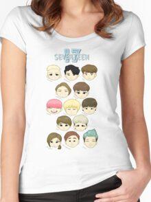 SEVENTEEN Chibi Heads Women's Fitted Scoop T-Shirt