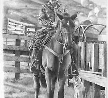 Man riding horse by David J. Vanderpool