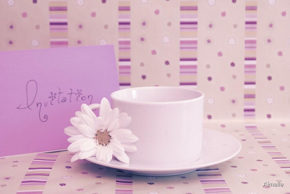 Purple tea invitation card by Aimelle