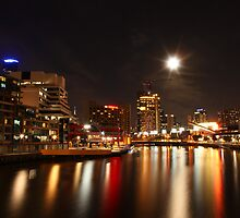 Melbourne - city lights under the moonlight by paxamour