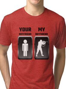 Your Boyfriend My Boyfriend Military Tri-blend T-Shirt